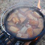 2016/12/3~4のキャンプ飯:テーマは簡素化。おでん、うどん、焼き芋、焼肉