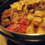 2017/1/21~22のキャンプ飯:すき焼き、鍋焼きうどん、雑炊、ゆで玉子